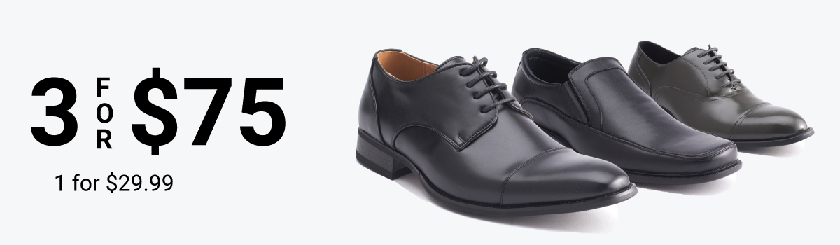 Shoes: 3 for $75