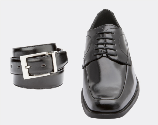 Match your leather colors when it comes to belts and shoes. Brown shoes, brown belt. Black shoes, black belt. Try our Smooth            Leather Reversible Dress Belt for easy pairing with both black and brown leathers.
