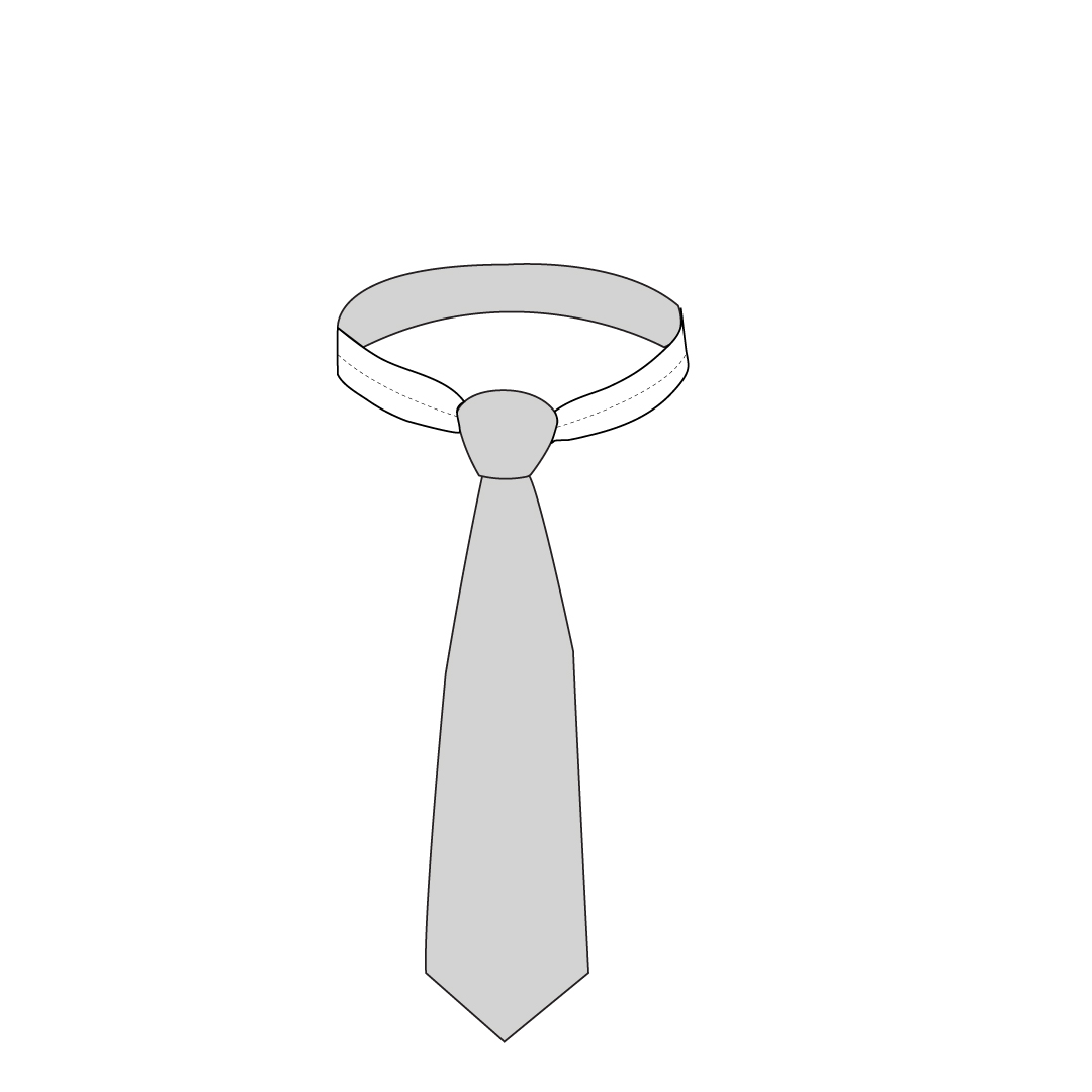 Step 1 Drape tie around your neck with the face of the tie is double the length of the thinner side.