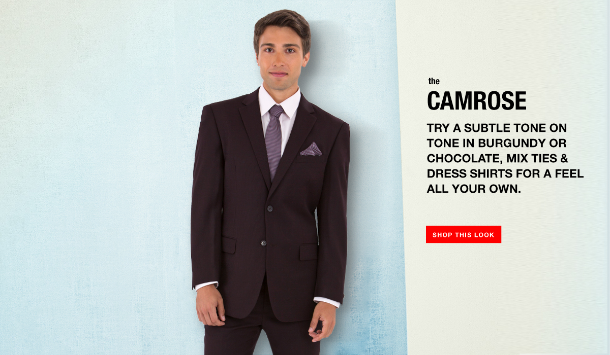 The Camrose - Tone on Tone Burgundy Suit Look