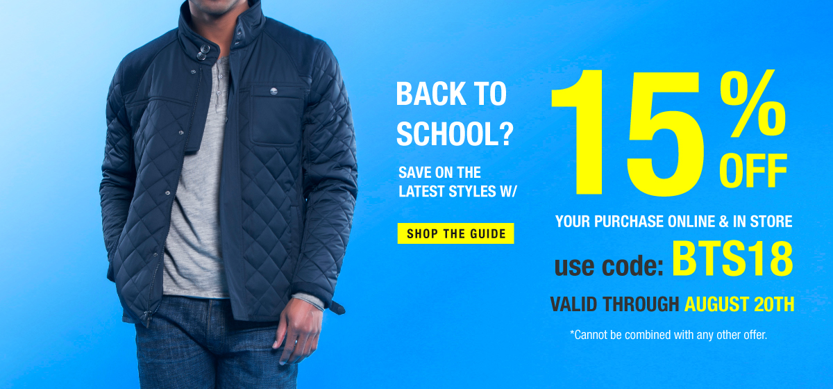 Shop Back to School Styles & Save 15% OFF wCode BTS18