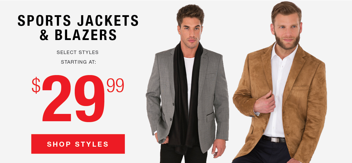 Select Outerwear Styles Now $29.99 & $39.99