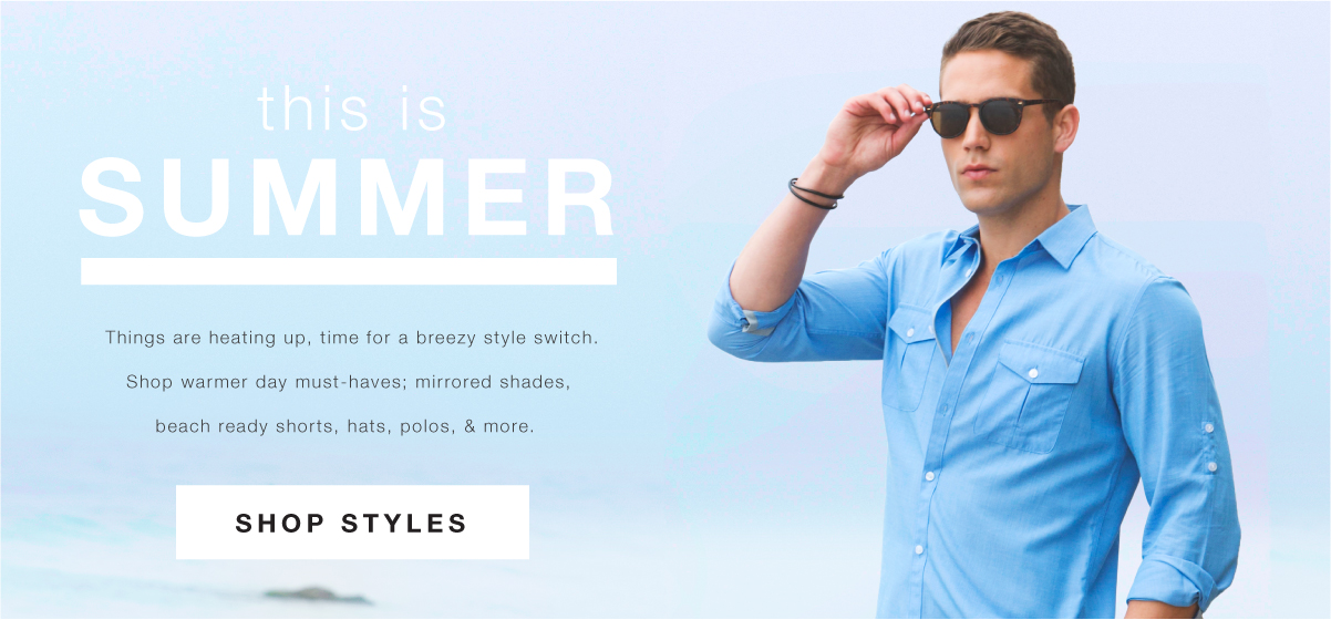 Shop Shorts, Polos, Hats & Sunglasses.
